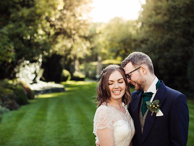 Wedding Couple in Garden at Hockwold Hall