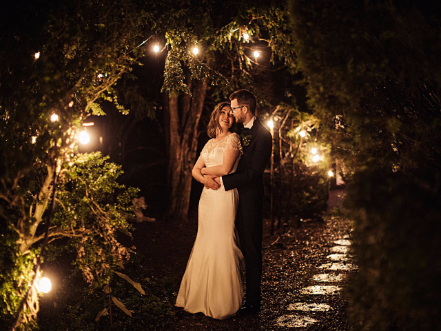 Wedding Couple in the Grounds at Hockwold Hall