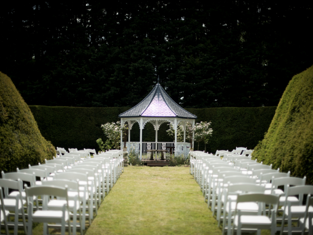 Wedding Gazebo with American Style Folding Chairs at Hockwold Hall