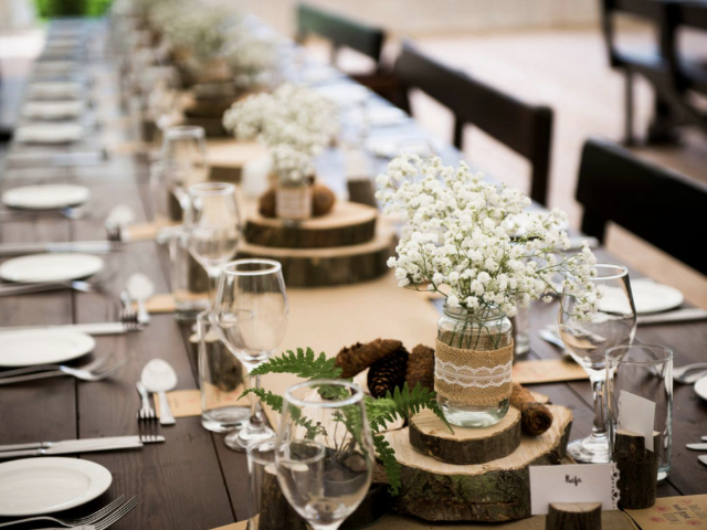 Table setting rustic woodland in Marquee at Hockwold Hall